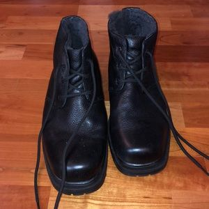 Mens Florsheim Black Leather Ankle Boots